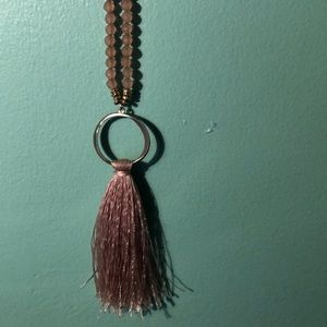 Pink tassel and beaded necklace